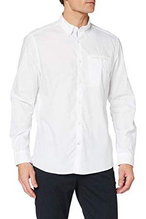 Pioneer Herenshirt met lange mouwen, solide overhemd met button-down-kraag