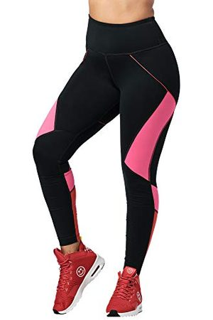Zumba Fitness Dames Hoge Taille Workout Fitness Compressie Activewear Gym Leggings, Bold Black 7, XS