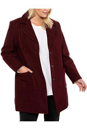 Ulla Popken Dames, wollook, revers, lange mouwen mantel
