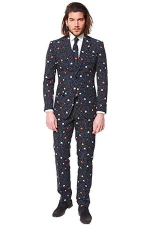OppoSuits Prom Suits for Men - Pac-Man - Komes with Jacket, Pants and Tie in Funny Designs kostuum d39 heren - - XX-Large