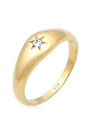 Elli Ringen Siegelring Stern Kristalle 925er Silber