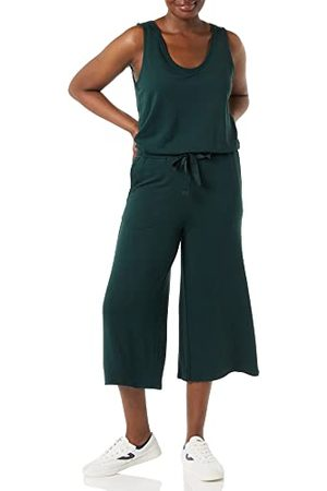 Daily Ritual Dames Supersoft Terry mouwloos Jumpsuit, Mosgroen- XL