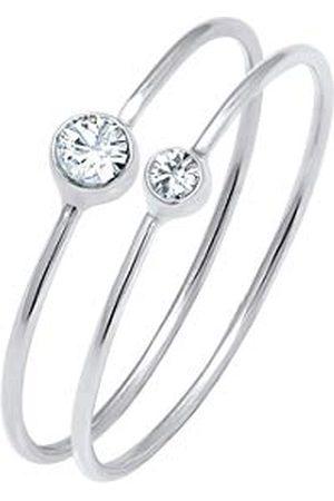 Elli Ringen Dames Set Elegant Basic met Kristallen in 925 Sterling