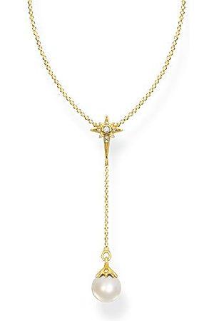 Thomas Sabo Damesketting parel met ster goud 925 sterling zilver, 750 geelgoud verguld KE1986-445-14