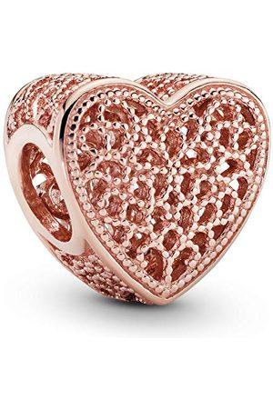 PANDORA Dames Rose filigraan werk & metalen kralen hart bedel 14 karaat rosé vergulde metaallegering 781811