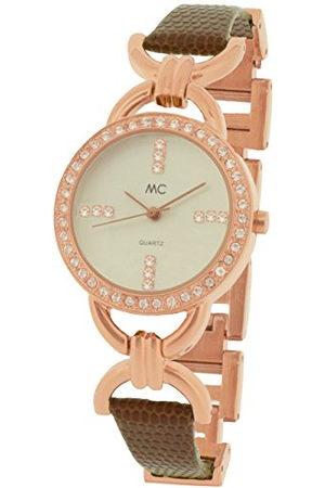 MC Dames analoog kwarts horloge met lederen armband 51429