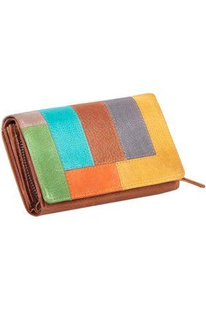 Mika 42181 - damesportemonnee van echt leer, portemonnee in liggend formaat, portemonnee met 12 kaartvakken, vak en muntvak met ritssluiting, portemonnee in bont - , ca. 15,5 x 10 x 4 cm