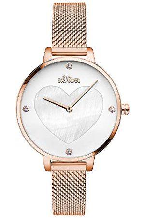 s.Oliver Analoog quartz dameshorloge met roestvrijstalen armband SO-3473-MQ, rosé