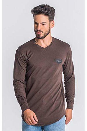 Gianni Kavanagh Brown Core V Neck Long Sleeve Tee T-shirt voor heren