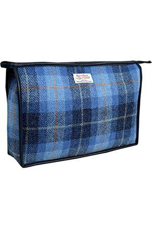 Vagabond Harris Tweed Blue Check Giant Holdall Bag Toilettas, 34 cm, (Mid Blue)