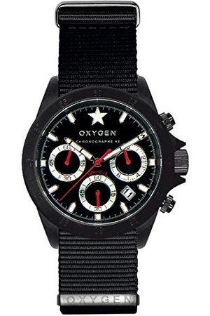 Oxygen Unisex polshorloge chronograaf kwarts nylon EX-C-REC-42-NN-BL