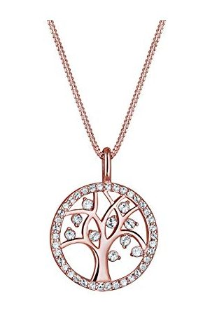 Elli Halsketting Dames Boom van Het Leven Hanger Vlak met Kristallen in 925 Sterling Zilver