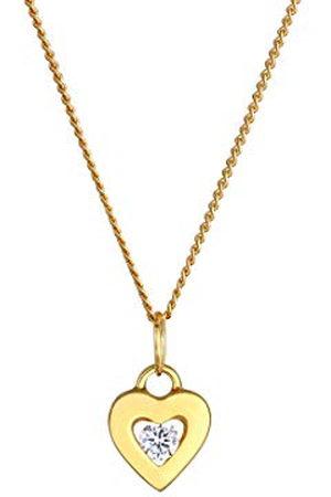 Elli Premium damesketting met hanger hart 585 geelgoud zirkonia wit rond geslepen 45 cm - 0108170916_45