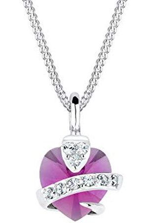 Elli Dames Kettingen - Halsketting Dames Hart Hanger Precious met Kristallen in 925 Sterling Zilver