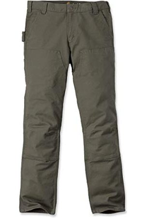 Carhartt Heren Broeken - Heren Straight Fit Stretch Duck Double Front Work Utility Pants, Black, W38/L32