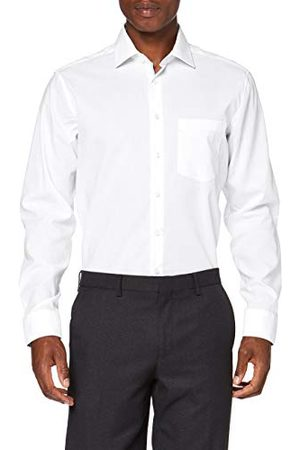 Seidensticker Zakelijk overhemd voor heren, strijkvrij hemd met rechte snit, regular fit, lange mouwen, Kent kraag, 100% katoen