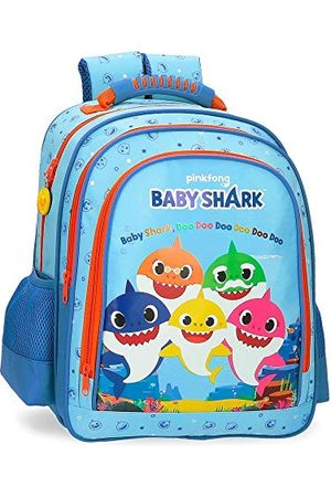 Baby Shark Shark Family schoolrugzak met twee vakken, blauw, 28 x 38 x 16 cm, microvezel, 17,02 l
