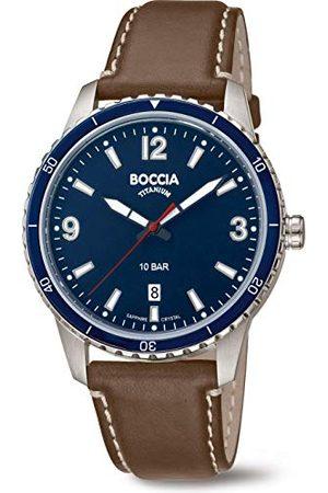Boccia Analoog kwartshorloge voor heren, met echt leren armband 3635-02