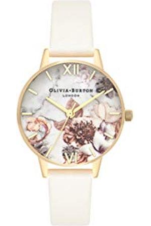 Olivia Burton Dames Horloges - OB16CS15 Dames analoog kwarts polshorloge met lederen band, Marmerlook met Bloemenopdruk