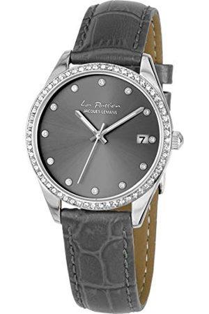 Jacques Lemans Dames Horloges - Dameshorloge La Passion lederen armband massief roestvrij staal Swarovskistenen LP-133A