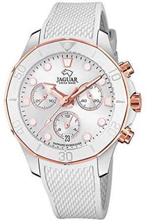 Jaguar Dames Horloges - Polshorloge model J890/1 uit de collectie Woman, behuizing 38,50/38,50 mm, zilverkleurig met witte rubberen armband voor dames