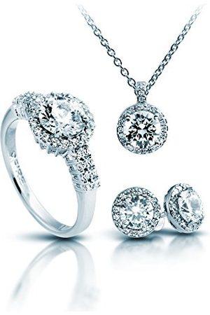 DIAMONFIRE Dames Sets - Dames sieradenset halsketting + oorbellen + ring Classic 4-delige set 925 gerhodineerd zirkonia briljant geslepen wit - 13/1269/1/917