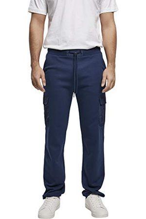 Urban classics Heren joggingbroek met cargozakken Commuter sweatpants, sportbroek voor mannen in 2 kleuren, maten S - XXL, dark blue, M