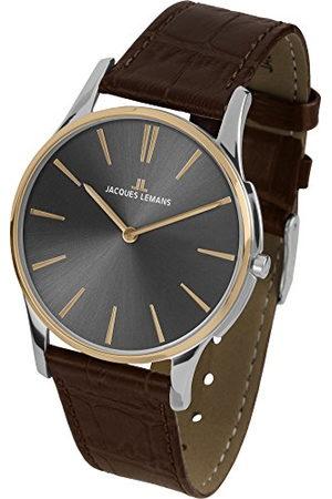 Jacques Lemans Dames Horloges - Dameshorloge London lederen armband massief roestvrij staal ip-goud/bicolor 1-1938E