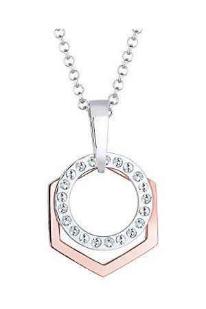 Elli Dames Kettingen - Damesketting met hanger hexagon, cirkel 925 zilver deels verguld kristal wit rond geslepen 70 cm - 0111432116_70