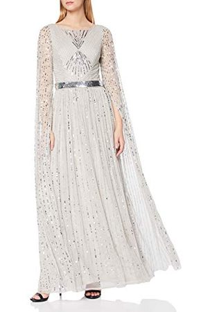 Amelia Rose Dames verfraaid Cape uitlopende mouwen Maxi jurk Cocktail