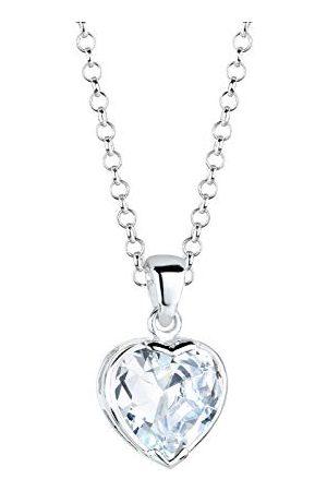 Elli Dames Kettingen - Damesketting met hanger hart 925 sterling zilver zirkonia hart geslepen 0109410513_45-45 cm lengte