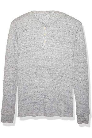 Amazon Heren Lange mouw - Heren Regular-fit lange mouw wafel Henley Shirt, lichtgrijs Heide, S