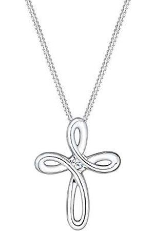 DIAMORE Dames Kettingen - Damesketting met hanger kruis 925 zilver gerhodineerd diamant (0,02 ct) rond geslepen 45 cm - 0105212416_45