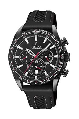 Festina Heren Armbanden - Unisex volwassen chronograaf kwarts Smart Watch polshorloge met leren armband F20351/3
