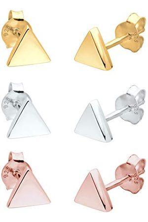 Elli Dames Sets - Oorbellen 3er Set Dreieck Geo Tricolor Minimal Silber