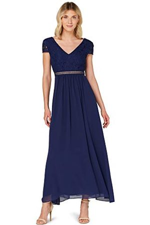 TRUTH & FABLE Dames Lange jurken - Dames Maxi Chiffon A-lijn jurk, (Medival Blue), 6, Label:XXS