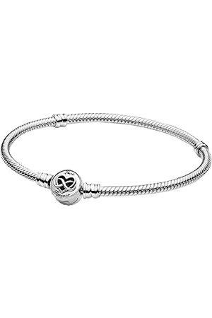PANDORA Moments-slang-schakelarmband met hart-oneindigheidssluiting, sterling , 20 cm, 599365C00-20