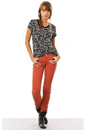 Wrangler Dames jeans MOLLY Cord RUST Skinny slim fit (groen) normale band