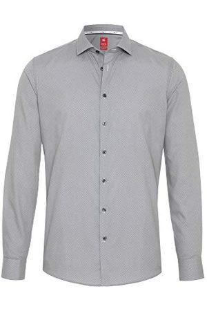 Pure Heren 4032-734 City Red lange mouwen klassiek overhemd, print middelblauw, M