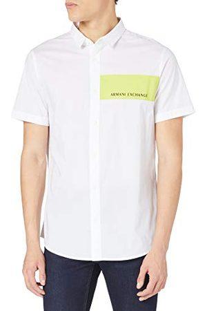 Armani Heren stretch katoen popeline white/Acid Lime Shirt