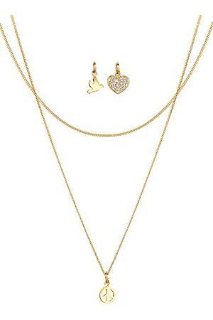 Elli Damesketting met hanger vogel, hanger set, Peace-teken, hart 925 zilver Swarovski kristal briljant geslepen wit 45 cm - 0112141814_45