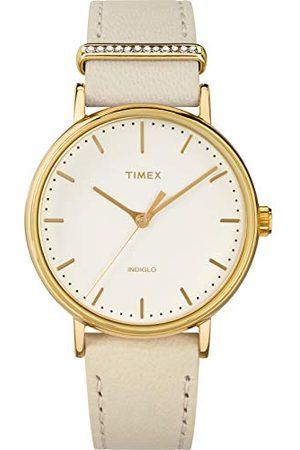 Timex Dames analoog kwarts horloge met lederen armband TW2R70500VQ