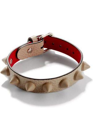 Christian Louboutin Loubilink Spike-embellished Leather Bracelet - Mens - White