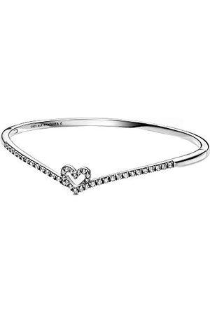 PANDORA Wish fonkelende Wishbone hart armband van sterling / grootte: 19cm (L)