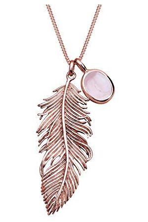 Elli Dames sieraden ketting ketting met hanger veer Boho Gypsy Hippie Festival Rozenkwarts Zilver 925 Rosé verguld kwarts rozenkwarts lengte 70 cm