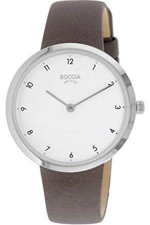 Boccia Dames analoog kwarts horloge met echt lederen armband 3315-01