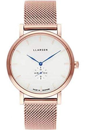 LLARSEN Dames analoog kwarts horloge met roestvrij stalen armband 144RWD3-MR3-18