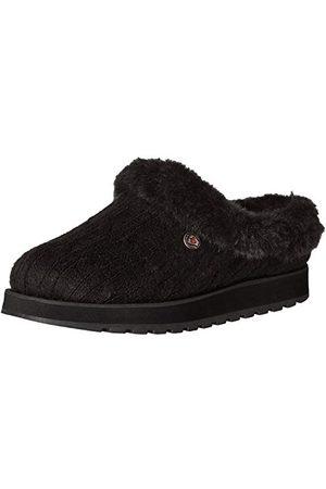 Skechers Keepsakes-Ice Angel platte pantoffels voor dames, Black Cable Knit Sweater Faux Fur Trim Bbk, 37.5 EU