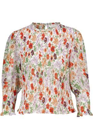 VERONICA BEARD Shirred floral top