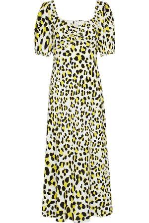 Diane von Furstenberg Dames Geprinte jurken - Jade leopard-print crêpe midi dress